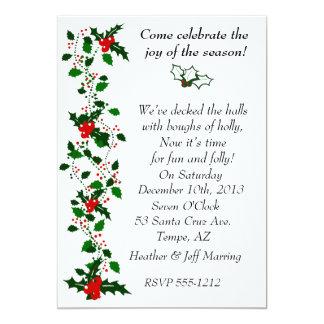 Holly Christmas Party Invitation