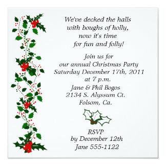 Holly Christmas Party Invite