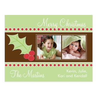 Holly Christmas Photo Card