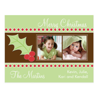 Holly Christmas Photo Card Post Cards