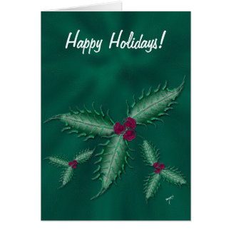 Holly Clusters Holiday Greeting Card, Green