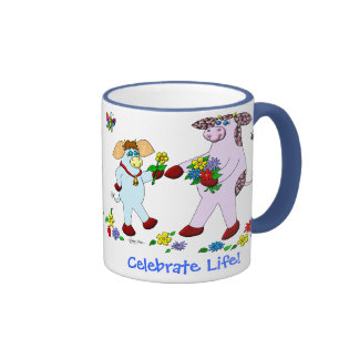 """Holly Cow and Belle """"Celebrate Life!"""" Coffee Mugs"""