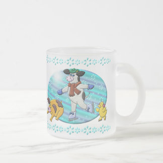 Holly Cow's Winter Wonderland Frosted Glass Coffee Mug