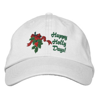 Holly Days Embroidered Hat