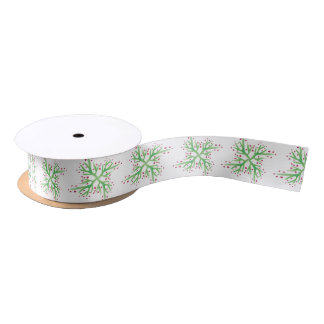 holly design gift wrapping satin ribbon