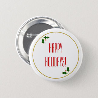 Holly Faux Gold Glitter Christmas Typography 6 Cm Round Badge