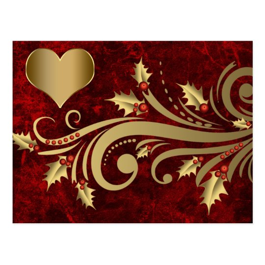 Holly florish and gold heart postcard