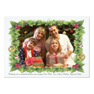Holly Frame Holiday Photo Card 13 Cm X 18 Cm Invitation Card