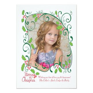 Holly Frame Photo Holiday Card 13 Cm X 18 Cm Invitation Card