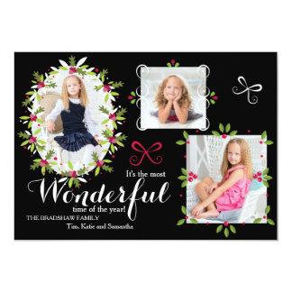 Holly Frames Holiday Photo Card 13 Cm X 18 Cm Invitation Card