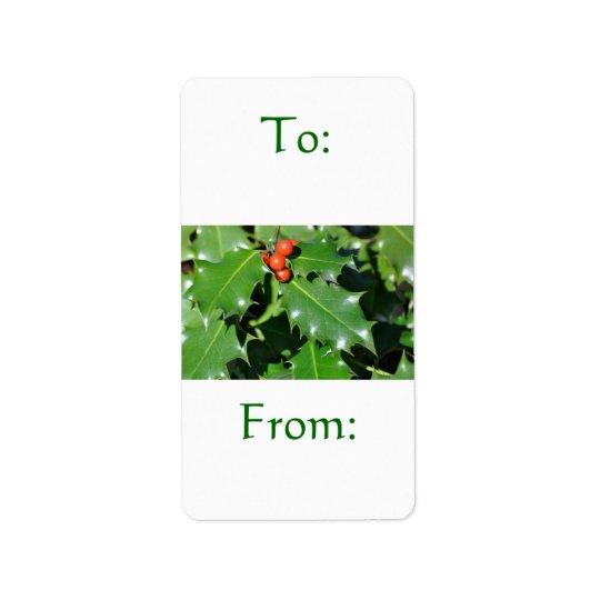 Holly Gift Label Address Label