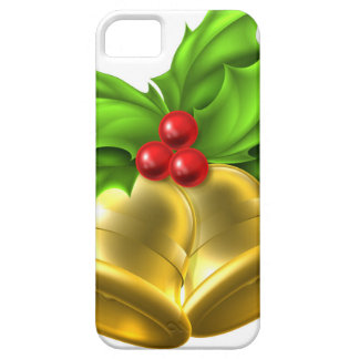 Holly Gold Bell Christmas Design Barely There iPhone 5 Case
