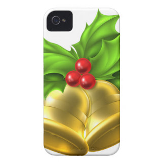 Holly Gold Bell Christmas Design iPhone 4 Case