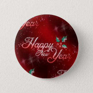 holly happy new year 6 cm round badge