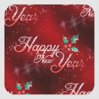 holly happy new year square sticker