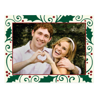 Holly Holiday Green & Red on Cream Photo Postcard