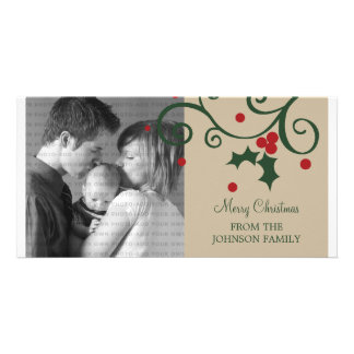 Holly Holiday Photo Card, Beige