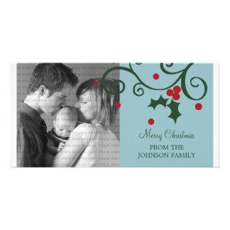 Holly Holiday Photo Card, Blue