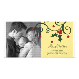 Holly Holiday Photo Card, Yellow