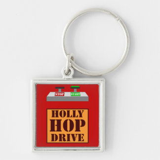 Holly Hop Drive Silver-Colored Square Key Ring