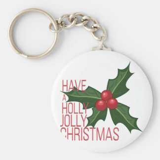 Holly Jolly Basic Round Button Key Ring