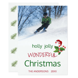 Holly Jolly Candy Cane Christmas Holly Card