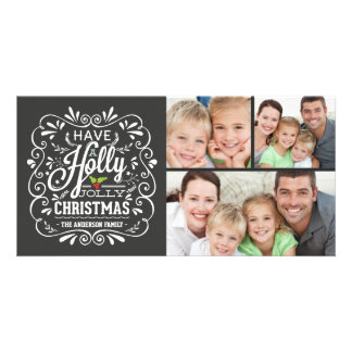 Holly Jolly Christmas Chalkboard 3-Photo Collage Customised Photo Card