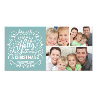 Holly Jolly Christmas Chalkboard 3-Photo Collage Personalized Photo Card