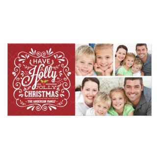 Holly Jolly Christmas Chalkboard 3-Photo Collage Photo Card