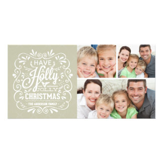 Holly Jolly Christmas Chalkboard 3-Photo Collage Photo Cards