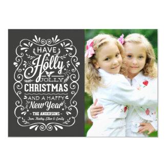Holly Jolly Christmas Chalkboard Photo Card 11 Cm X 16 Cm Invitation Card