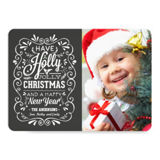 Holly Jolly Christmas Fancy Chalkboard Photo Card 13 Cm X 18 Cm Invitation Card