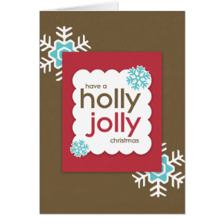 HOLLY JOLLY Christmas Folded Holiday Greeting Card