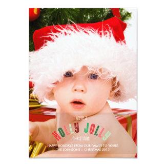 Holly Jolly Christmas Full Page Photo Card 11 Cm X 16 Cm Invitation Card