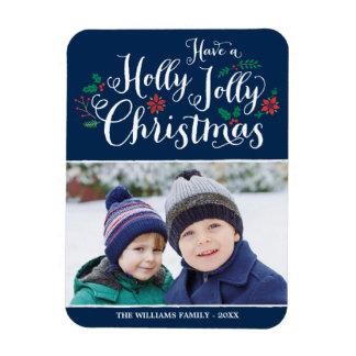 Holly Jolly Christmas   Holiday Photo Magnet