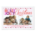 Holly Jolly Christmas Modern Striped Photo Card 13 Cm X 18 Cm Invitation Card