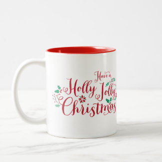 Holly Jolly Christmas Mug | Red Script Design