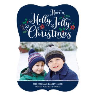 Holly Jolly Christmas | Navy Photo Card Greeting 13 Cm X 18 Cm Invitation Card