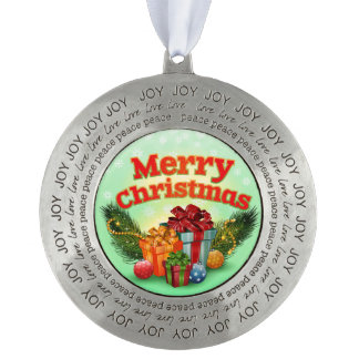 Holly Jolly Christmas Round Pewter Decoration