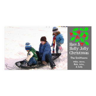 Holly Jolly Christmas Photocards (Gray) Photo Cards