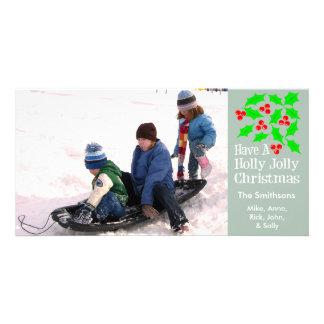 Holly Jolly Christmas Photocards (Sage Green) Customized Photo Card
