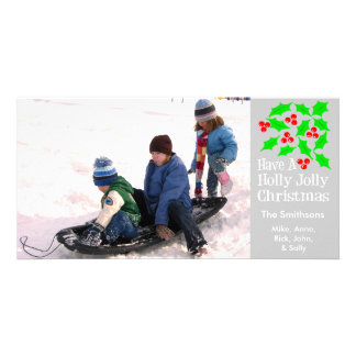 Holly Jolly Christmas Photocards (Silver) Picture Card
