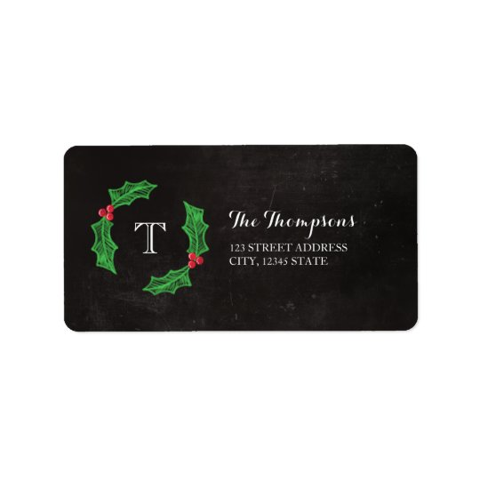Holly Jolly Christmas Rustic Chalkboard Monogram Label