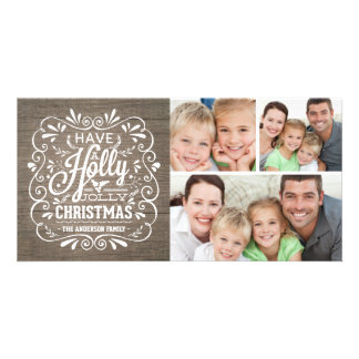 Holly Jolly Christmas Rustic Wood Photo Collage Picture Card