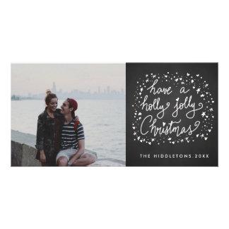 Holly Jolly Christmas Script Rustic Chalkboard Custom Photo Card