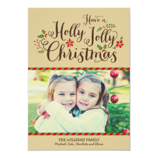 Holly Jolly Christmas | Tan Photo Card Greeting 13 Cm X 18 Cm Invitation Card