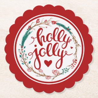 Holly Jolly Christmas Watercolor Wreath Paper Coaster