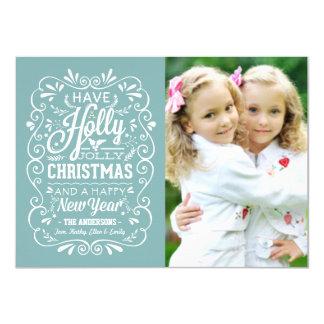 Holly Jolly Christmas Winter Blue Photo Card 11 Cm X 16 Cm Invitation Card