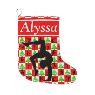 HOLLY JOLLY CUSTOM GYMNAST CHRISTMAS STOCKING