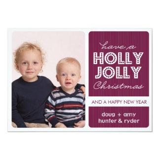 'Holly Jolly' (DEMICK) Holiday Photo Card 13 Cm X 18 Cm Invitation Card